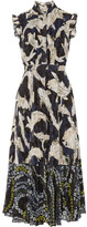 Erdem Roisin Pleated Fil Coupé Chiffon Midi Dress - Navy