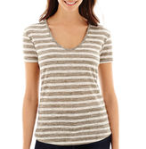 JCPenney A.N.A a.n.a Short-Sleeve Striped Textured V-Neck T-Shirt- Petite
