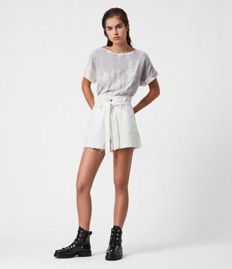 AllSaints Hannah Paperbag Denim Shorts