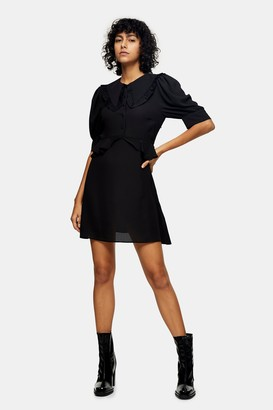 Topshop Womens Black Collar Button Front Mini Dress - Black