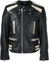 Maison Margiela bi-colour biker jacket - men - Cotton/Calf Leather/Viscose/Wool - 50