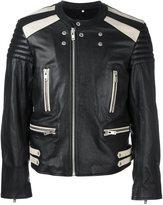 Maison Margiela bi-colour biker jacket - men - Cotton/Calf Leather/Viscose/Wool - 50