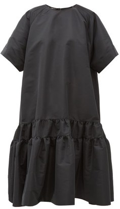 Rochas Tie-back Tiered Faille Dress - Black