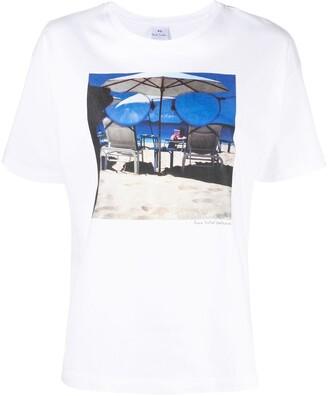 Paul Smith beach-print crew-neck T-shirt