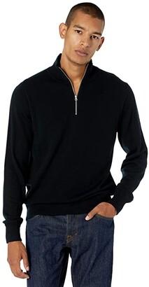 J.Crew Washable Merino Wool Half-Zip Sweater (Black) Men's Clothing
