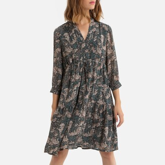 See U Soon Floral Print Dress with High-Neck