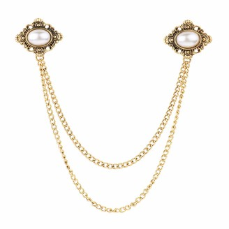 inhzoy Antique Doublelayer Sweater Shawl Chain Clips Elegant Retro Cardigan Collar Holders Decorations for Women Girls Gold Pearl One Size