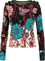 Issa Bess floral-print silk-blend bouclé-knit sweater