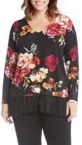 Karen Kane Plus Size Women's Floral Print Mixed Media Top