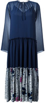 See by Chloe pleated skirt peasant dress - women - Polyester/Viscose/Silk - 36