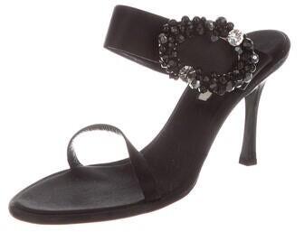 Thumbnail for your product : Oscar de la Renta Crystal Embellishments Slides Black