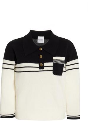 Madeleine Thompson Women's Two-Tone Cashmere Polo Sweater - White - Moda Operandi