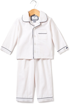 Petite Plume Solid Pajama Set w/ Contrast Piping, Size 6M-14