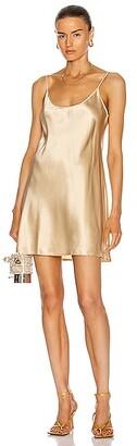 La Perla Silk Short Slip Dress in Metallic Gold,Neutral