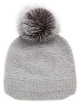 Surell Slouchie Fox Fur Trimmed Wool-Blend Beanie