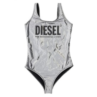 Diesel One-piece Swimsuit In Laminated Fabric With Logo Print