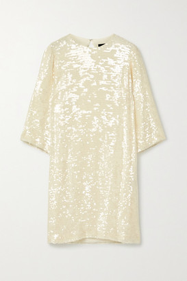 Sally LaPointe Paillette-embellished Georgette Dress - Cream