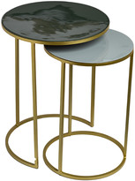 Pols Potten Enamel Side Table - Set of 2 - Green/Grey