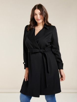 Forever New Lettie Curve Soft Trench Coat - Black - 16