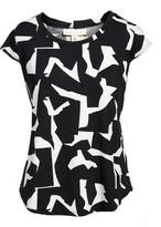 Emaline Women's Blouses BLKWHT - Black & White Abstract Short-Sleeve Top - Women