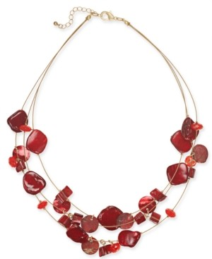 "Style&Co. Style & Co Shell Multi-Row Illusion Statement Necklace, 18"" + 2"" extender, Created for Macy's"