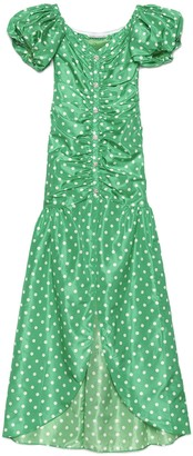 Alessandra Rich Polka-Dot Ruched Maxi Dress