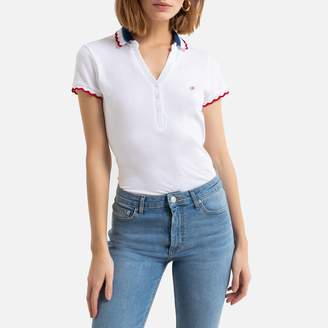 Kaporal Cotton Polo Shirt with Three-Tone V-Neck and Short Sleeves