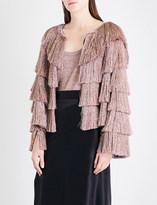 Missoni Fringed metallic-knit jacket