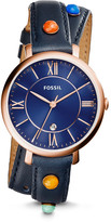 Fossil Jacqueline Three-Hand Date Blue Leather Watch