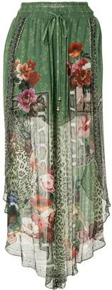 Camilla Sheer-Layered Silk Skirt