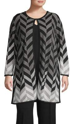 Kasper Plus Chevron Printed Jacket