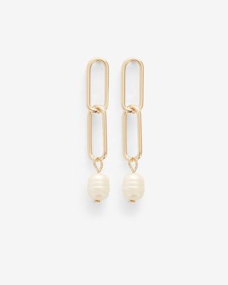Express Paperclip Pearl Drop Earrings