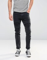 Asos Skinny Jeans With Rips In Black