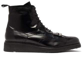 Toga Virilis Tassel Front Leather Brogue Boots - Mens - Black