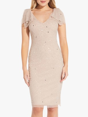 Adrianna Papell Beaded Angel Sleeve Cocktail Dress, Almond Cream