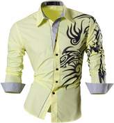 Jeansian Men's Slim Fit Long Sleeves Casual Shirts Z001 L