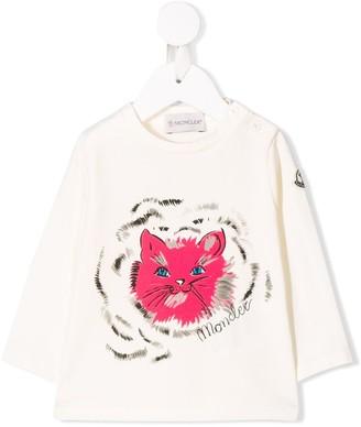 Moncler Enfant Cat Print Long Sleeve Top
