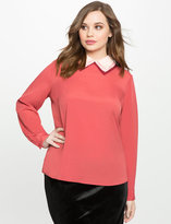 ELOQUII Plus Size Colorblock Collar Blouse