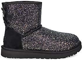 UGG Women's Classic Bow Mini Sheepskin-Lined Glitter Boots