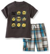 Kids Headquarters Emoji Two-Piece Tee and Shorts Set
