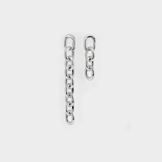Numbering Unbalanced Drop Chain Earrings In Silver Plated Brass