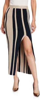 Self-Portrait Striped Midi Skirt with Slit