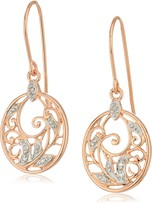 Amazon Collection 14k Rose Gold Plated Sterling Silver Diamond Accent Filigree Disc Dangle Earrings