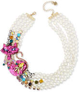 """Betsey Johnson Gold-Tone Multi-Stone & Imitation Pearl Pink Cat Multi-Row Necklace, 16-1/2"""" + 3"""" extender"""