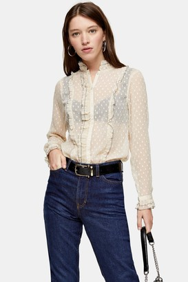 Topshop Womens Dobby Blouse With Pie Crust - Cream