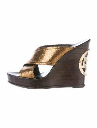 Tory Burch Leather Cutout Accent Slides Gold