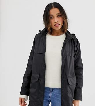 Asos DESIGN Petite pac a mac jacket-Black