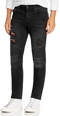 True Religion Rocco Moto Super Stretch Skinny Fit Jeans in Black