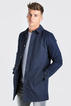 boohoo Mens Navy Single Breasted Twill Mac, Navy