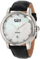Burgi Women's BU14B Round Swiss Quartz Diamond Date Strap Watch